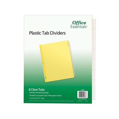 Avery Office Essentials Insertable Paper Dividers, 8-Tab, Clear (11468)