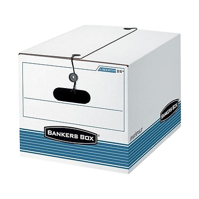 Bankers Box Stor/File Corrugated Boxes, Letter/Legal Size, White/Blue, 4/Carton (0002501)