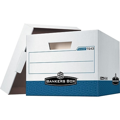 Bankers Box R-Kive® Heavy-Duty FastFold File Storage Boxes, Lift-Off Lid, Letter/Legal Size, White/Blue, 4/Carton (0724303)