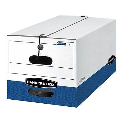 Bankers Box Heavy-Duty Corrugated File Storage Boxes, String & Button, Legal Size, White/Blue, 4/Carton (0001203)