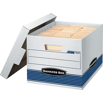 Bankers Box Stor/File Medium-Duty FastFold File Storage Boxes, Lift-Off Lid, Letter/Legal Size, White/Blue, 4/Carton (0078907)