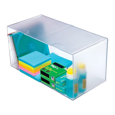 Deflect-O Cube Plastic Compartment Storage, Clear (350501)