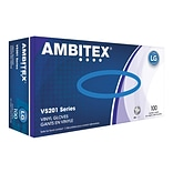 Ambitex V5201 Series Latex Free Clear Vinyl Gloves, Large, 100/Box, 10 Boxes/Carton (VLG5201)