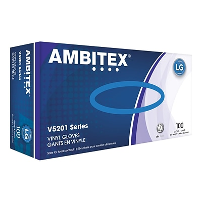 Ambitex V5201 Series Latex Free Clear Vinyl Gloves, Large, 100/Box (VLG5201)