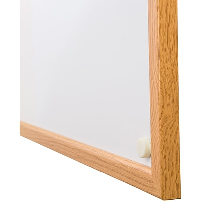 Viztex Lacquered Steel Magnetic Dry Erase Boards with Oak Effect Surround (48x36)