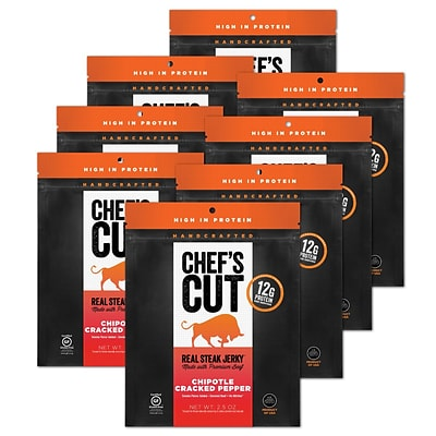 Chefs Cut, Real Steak Jerky, Chipotle Cracked Pepper, 8 Pack, (DS1150)