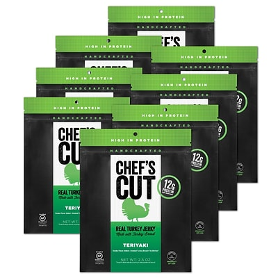 Chefs Cut,  Real Turkey Jerky, Teriyaki, 8 Pack, (DS1151)