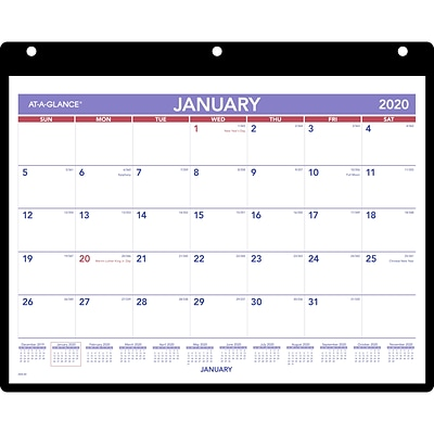 2020 AT-A-GLANCE 11 x 8 Monthly Desk/Wall Calendar with Clear Cover and Vinyl Holder (SK8-00-20)