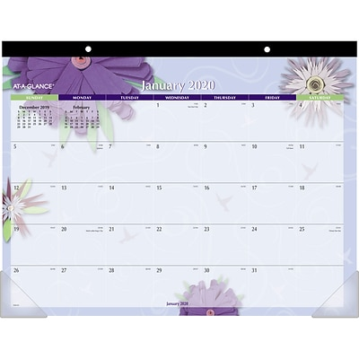 2020 AT-A-GLANCE 22 x 17 Monthly Desk Pad Paper Flowers (5035-20)