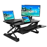 Seville Classics AIRLIFT 35.4 Gas-Spring Height Adjustable Standing Desk Converter Workstation, Bla