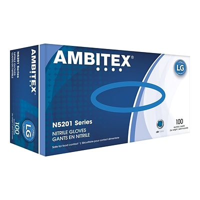 Ambitex N5201 Series Powder Free Blue Nitrile Gloves, Large, 1000/Carton (NLG5201)