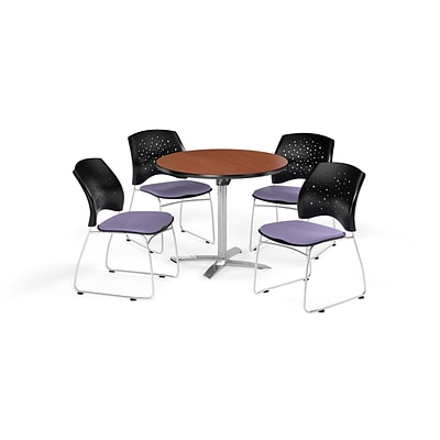 OFM 36 Inch Round Flip Top Cherry Table and Four Lavender Chairs (PKG-BRK-165-0002)