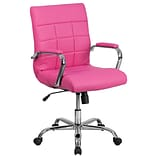 Mid-Back Pink Vinyl Executive Swivel Office Chair with Chrome Arms [GO-2240-PK-GG]