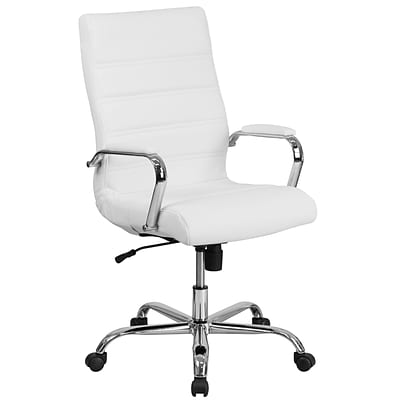 High Back White Leather Executive Swivel Office Chair with Chrome Arms [GO-2286H-WH-GG]
