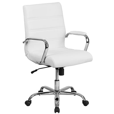Mid Back White Leather Executive Swivel Office Chair With Chrome Arms Go 2286m