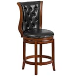 26 High Brandy Wood Counter Height Stool with Black Leather Swivel Seat [TA-2301226-B-CTR-GG]
