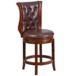 26 High Dark Chestnut Wood Counter Height Stool with Hepatic Leather Swivel Seat [TA-2301226-DC-CT