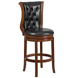 30 High Brandy Wood Barstool with Black Leather Swivel Seat [TA-2301230-B-GG]