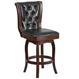 26 High Cappuccino Wood Counter Height Stool with Black Leather Swivel Seat [TA-240126-CA-GG]