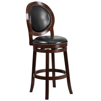 30 High Cappuccino Wood Barstool with Black Leather Swivel Seat [TA-550130-CA-GG]