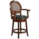 26 High Expresso Wood Counter Height Stool with Arms and Black Leather Swivel Seat [TA-550426-E-CT
