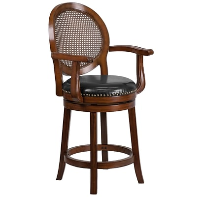 26 High Expresso Wood Counter Height Stool with Arms and Black Leather Swivel Seat [TA-550426-E-CTR-GG]