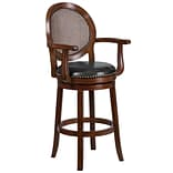 30 High Expresso Wood Barstool with Arms and Black Leather Swivel Seat [TA-550430-E-GG]