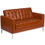 HERCULES Lacey Series Contemporary Cognac Leather Loveseat with Stainless Steel Frame [ZB-LACEY-831-