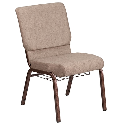 HERCULES Series 18.5W Fabric Church Chair with 4.25 Thick Seat, Cup Book Rack