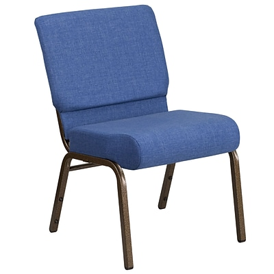 HERCULES Series 21 Extra Wide Blue Fabric Stacking Church Chair with 4 Thick Seat - Gold Vein Frame [FD-CH0221-4-GV-BLUE-GG]
