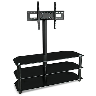 Mount-It! – TV Center Stand – With Mount and Glass Shelves for Audio Video – Black  (MI-863)