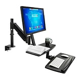 Mount-It! Sit Stand Standing Desk Converter, Articulating Stand-Up Workstation with Monitor Mount, H