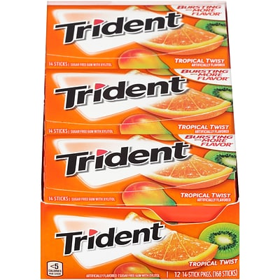 Trident® Sugar-Free Gum, Tropical Twist, 12 Packs/Box (MOZ01110/619580)