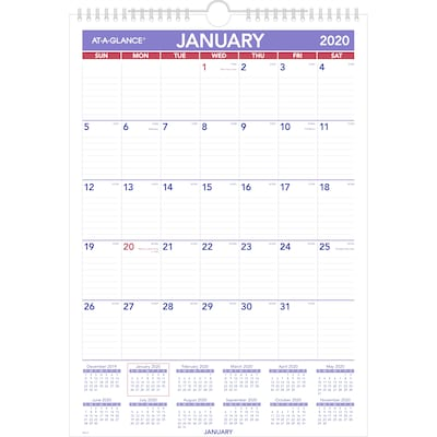 "2020 AT-A-GLANCE 12"" x 17"" Monthly Wall Calendar (PM2-28-20)"