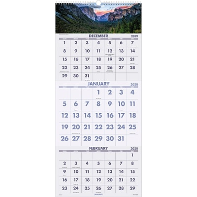 2020 AT-A-GLANCE 12 x 27 3-Month Wall Calendar Scenic (DMW503-28-20)