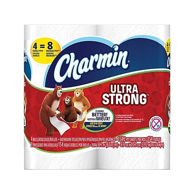 Charmin Ultra Strong Mega 2-Ply Standard Toilet Paper, White, 154 Sheets/Roll, 48 Rolls/Carton (94106)