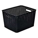 Simplifys  Large Resin Wicker Storage Bin in Black