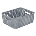 Simplifys  Medium Resin Wicker Storage Bin in Grey