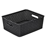 Simplifys  Medium Resin Wicker Storage Bin in Black