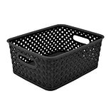 Simplifys Small Resin Wicker Storage Bin in Black
