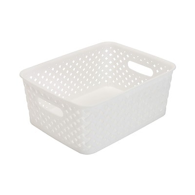 Simplifys Small Resin Wicker Storage Bin in White