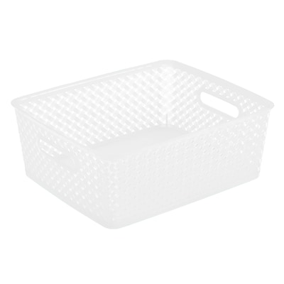 Simplifys  Medium Resin Wicker Storage Bin in White