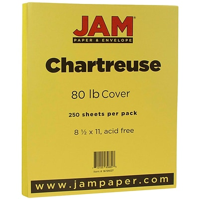 JAM Paper® Matte 80lb Colored Cardstock, 8.5 x 11 Coverstock, Chartreuse Green, 250 Sheets/Ream (16729227B)