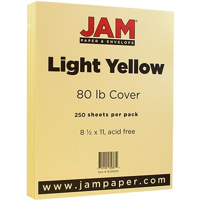 JAM Paper® Matte Cardstock, 8.5 x 11, 80lb Light Yellow, 250/ream (16729235b)
