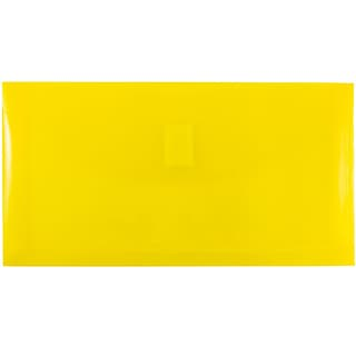 JAM Paper® Plastic Envelopes with Hook & Loop Closure, 1 Expansion, #10, 5.25 x 10, Yellow Poly,