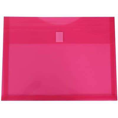 JAM Paper® Plastic Envelopes with Hook & Loop Closure, 1 Exp, Letter Booklet, 9.75 x 13, Fuchsia Pink Poly, 12/pack (218V1fu)