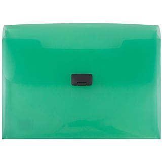 JAM Paper® Plastic Portfolio with Buckle Closure, 9.5 x 13.25 x 1, Green, Sold Individually (550gree