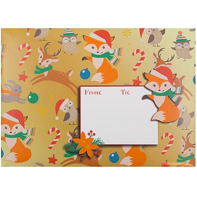 JAM Paper® Bubble Mailers, Large, 10.5 x 16, Foxy Christmas, 6/pack (526SSDE546L)