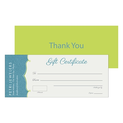 Custom Gift Certificates, 8.5 x 3.5, 14 pt. Coated Stock, 2-Sided