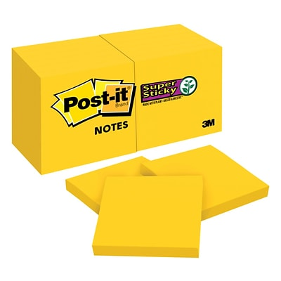Post-it® Super Sticky Notes, 3 x 3, Bright Yellow, 90 Sheets/12 Pads (654-12SSYW)